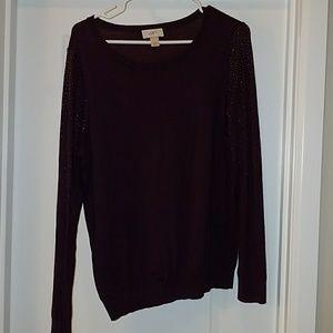 Rhinestone sleeve sweater